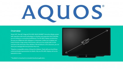 State-of-the-art Sharp Aquos 80-inch monitor with touch-screen whiteboard.